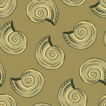 Seamless hand drawn texture of shells   Vector