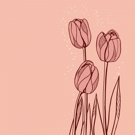 Abstract floral illustration with tulips on pink background  Vector