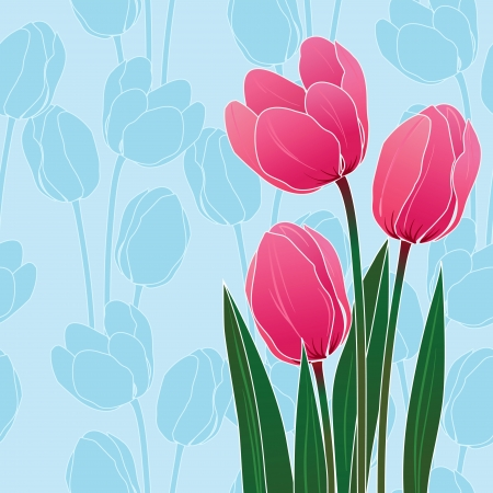tulips in green grass: Abstract floral illustration with tulips on blue background
