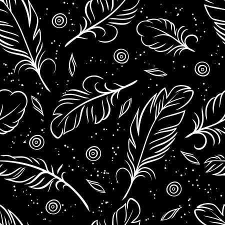 plume: illustration  Seamless pattern of abstract feathers