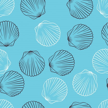 caracolas de mar: La mano sin fisuras elaborado textura de la Ilustración Vector conchas