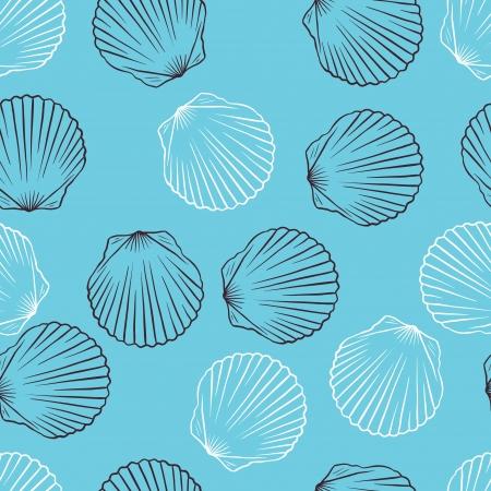 petoncle: Main �tir� sans soudure texture du vecteur coquilles Illustration