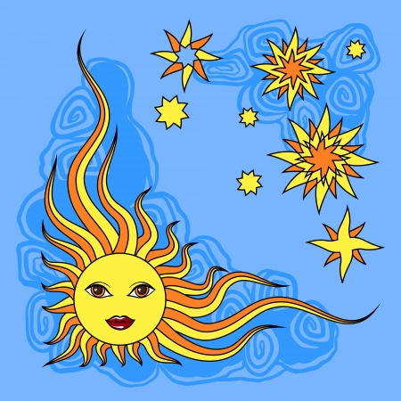 sonne mond und sterne: Fantasie Hand gezeichnete Sonne �ber wei�en Vektor-Illustration Illustration