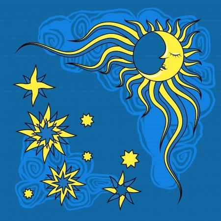 dia y noche: Por ejemplo dibujado Fantasy noche y la luna Vector Vectores