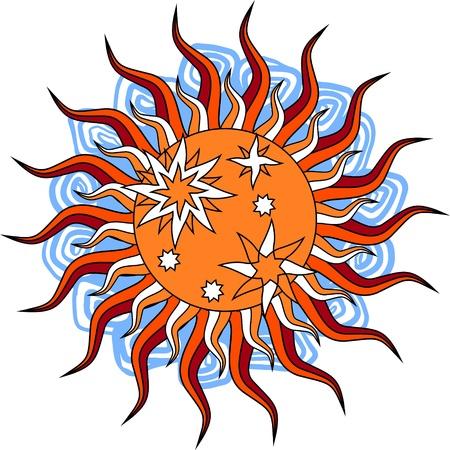 Fantasy hand drawn sun over white  Vector illustration  Vector