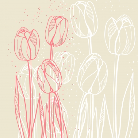 tulips in green grass: Abstract floral illustration with tulips on beige background