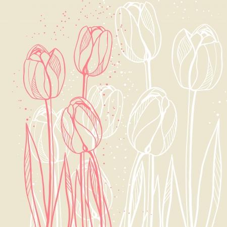 Abstract floral illustratie met tulpen op beige achtergrond