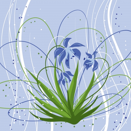 Pastel background with blue snowdrops  Vector illustration  Vector