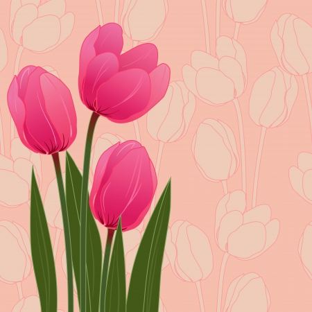 Abstract floral illustration with tulips on blue background  Vector