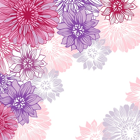 textile image: Floral background with hand draun flowers  Vector illustration