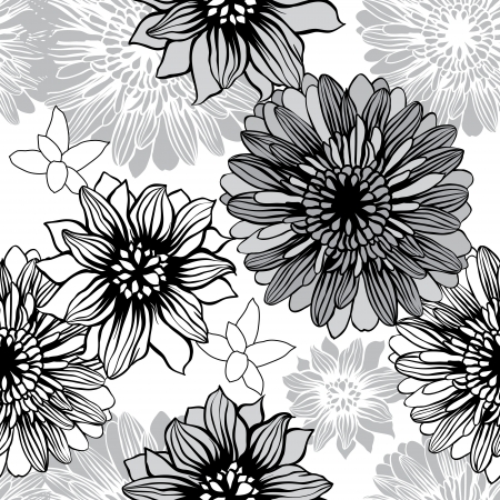 pale: Vector background with hand drawn flowers   Seamless Pattern  Illustration