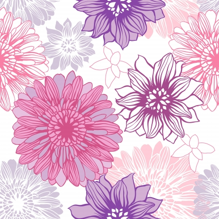 Vector background with hand drawn flowers   Seamless Pattern  Stock Vector - 13998966