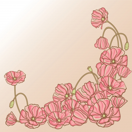 Floral background with hand draun flowers  Vector illustration