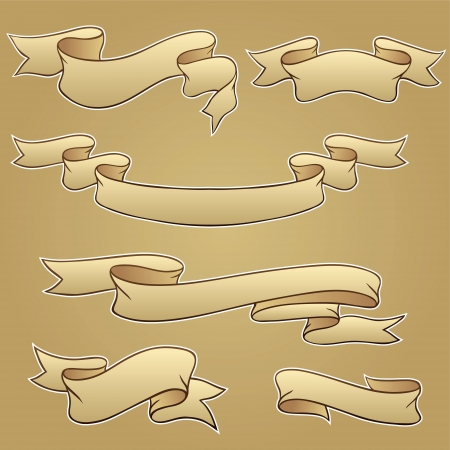 Set old vector banners hand drawn style Vector