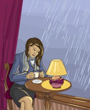 woman drinking tea: Pretty woman drinking tea in cafe  Vector illustration  Illustration