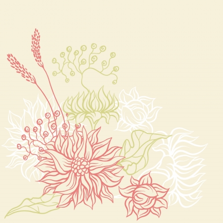Vintage card with flowers  Vector background for you design Stock Vector - 13998981