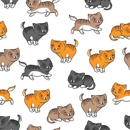gato jugando: Patrón sin fisuras con la ilustración vectorial gracioso gatos