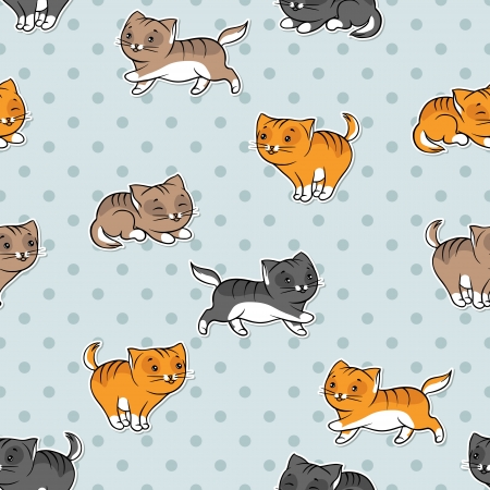 Seamless pattern with funny cats  Vector illustration  Vector