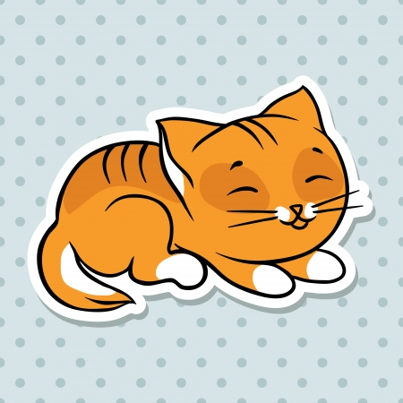 Red cute funny cat sleep  Vector illustration  Vector