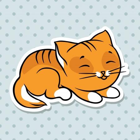 Red nette lustige Katze Schlaf Vektor-Illustration Vektorgrafik