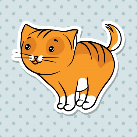 Red cute funny cat stand  Vector illustration  Vector