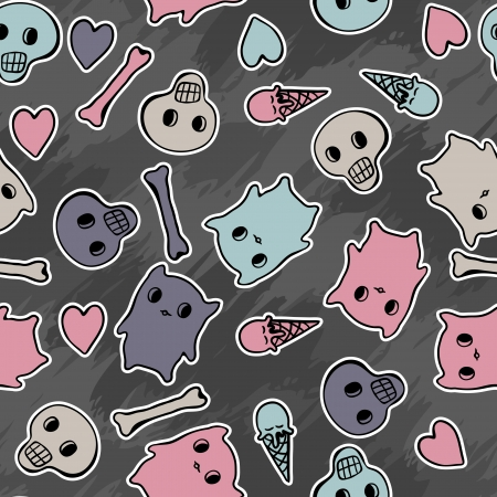Skulls, and hearts on black background - seamless pattern  Stock Vector - 13998956