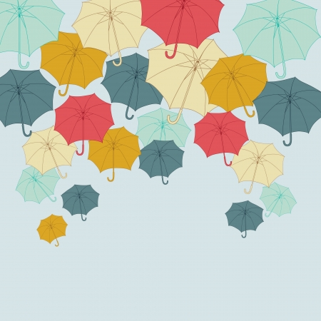 rainy season: Background with collor umbrellas  Illustration