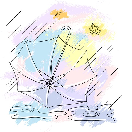 rainfall: Background with collor umbrellas