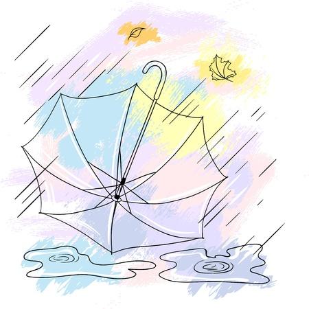 Background with collor umbrellas Vector