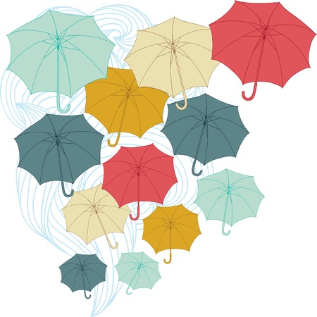 cold climate: Background with collor umbrellas  Illustration