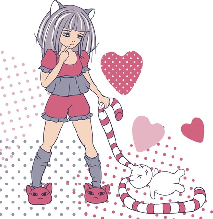 manga style: Manga style girls with toy