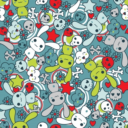 manga style: Seamless pattern with doodle Illustration