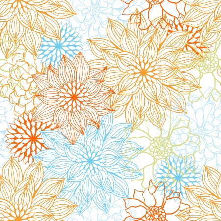 background with hand drawn flowers seamless pattern Stock Vector - 14153676