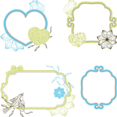 Stylish floral background, hand drawn retro flowers and birds  Vector