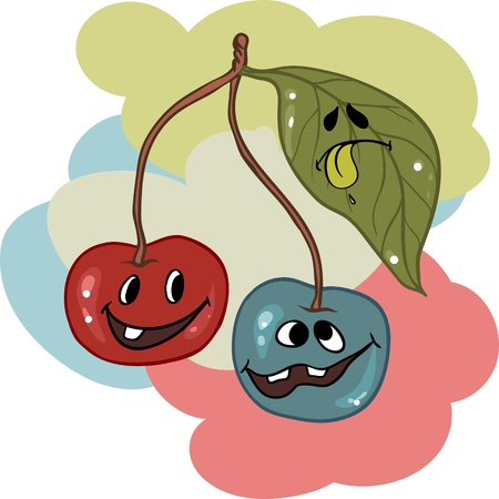 sour: Drunk cherry mascot cartoon character  Vector illustration