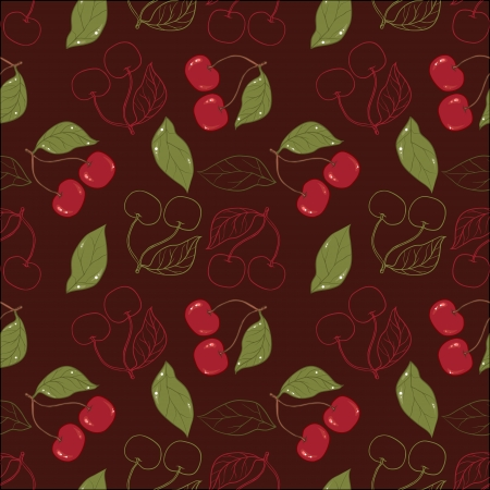 Ornate cherry pattern isolated on a broun background  Vector