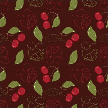 broun: Ornate cherry pattern isolated on a broun background