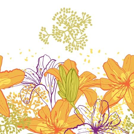 Bella seamless con gigli, illustrazione vettoriale Vettoriali