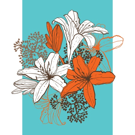 botanical branch: Lily flower abstract vector background, template for you design  Illustration