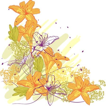 lily flower: Lily bloem abstracte vector achtergrond, sjabloon voor u ontwerpen
