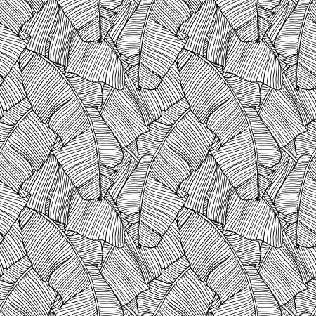 yeşillik: Vector illustration palmiye ağacı Seamless pattern yaprakları