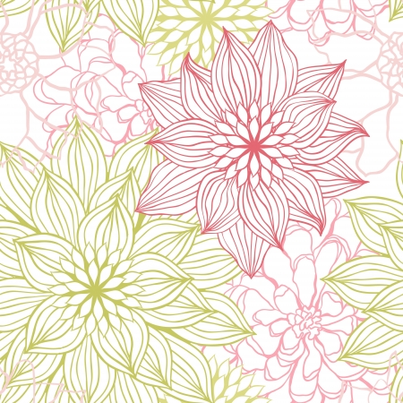 Vector background with hand drawn flowers   Seamless Pattern  Stock Vector - 14388787