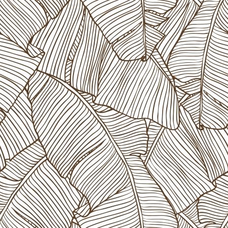 Vector illustratie bladeren van palmboom Naadloze patroon Stock Illustratie