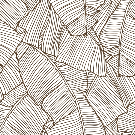coconut palm: Vector illustration leaves of palm tree  Seamless pattern