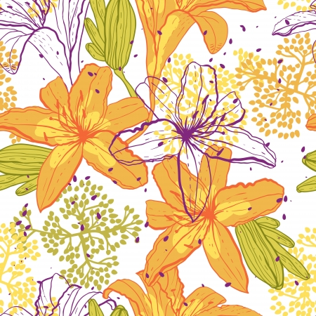 orange blossom: Beautiful seamless pattern with lilies, vector illustration