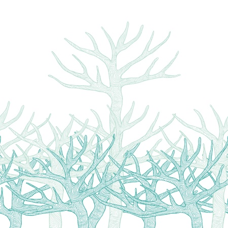 Decorative seamless pattern with trees  Vector illustration  Vector