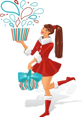 The girl is holding a gift  Vector illustration  Vector