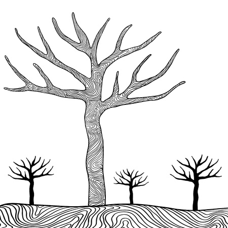 Black trees isolated on white background vector  Vector