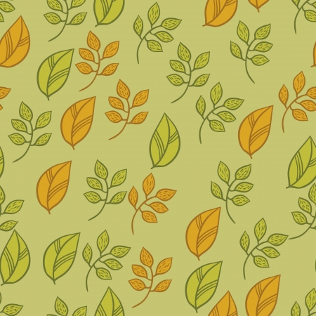 Vector seamless texture with fall hand drawn leaves  Vector
