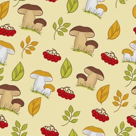 Vector seamless texture with the mushrooms, leaves and berries  Vector